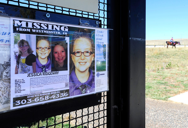 A poster with Jessica Ridgeway's information is posted on the sign of the Coalton Trial head in Superior, Colorado October 8, 2012. BOULDER DAILY CAMERA/ Mark Leffingwell