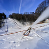 KRISTOPHER RADDER — BRATTLEBORO REFORMER<br /> Crews blow snow at the Harris Hill Ski Jump, in Brattleboro, on Friday, Feb. 1, 2019.
