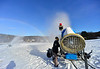 KRISTOPHER RADDER - BRATTLEBORO REFORMER<br /> Ray Blow adjusts the snow guns at Living Memorial Park on Friday, Dec. 16, 2016.
