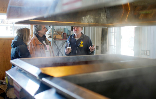 BEN GARVER — THE BERKSHIRE EAGLE<br /> Dicken Crane talks about maple syrup production and everything else in the sugar shack at Holiday Brook Farm in Dalton. <br /> Holiday Brook Farm has made improvements in their store that allow for weekend maple breakfast dining during the maple sugar season (check Facebook for dates through April); the farm kitchen has been improved and they even offer gluten and dairy free options, Sunday, March 24, 2019.