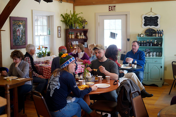 BEN GARVER — THE BERKSHIRE EAGLE<br /> Holiday Brook Farm has made improvements in their store that allow for weekend maple breakfast dining during the maple sugar season (check Facebook for dates through April); the farm kitchen has been improved and they even offer gluten and dairy free options, Sunday, March 24, 2019.