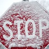 BEN GARVER — THE BERKSHIRE EAGLE<br /> A stop sign in West Stockbridge is covered in snow, Friday, March 2, 2018.