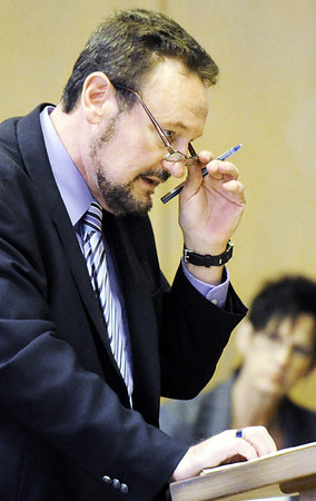 Globe/T. Rob Brown<br /> Defense attorney Shane Adamson gives his opening remarks during the murder trial of Kaston Hudgins, of Galena, Kan., Wednesday afternoon, March 14, 2012, at the Cherokee County Courthouse in Columbus, Kan.