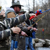Globe/T. Rob Brown<br /> Young angler Kanon Hall, 9, of Aurora, casts his line Thursday morning, March 1, 2012, at Roaring River State Park in Cassville, Mo.