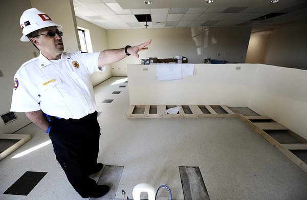 Globe/T. Rob Brown<br /> Chief Mitch Randles looks around the kitchen area of the new Joplin Fire Department Station No. 6, Friday afternoon, March 9, 2012.