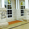 Vandals spray painted these letters on the Lebanon Public Library sometime over the weekend.