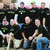 """Members of the Lebanon Fire Department who participated in the Carmel Fire Department's """"pumper pull"""" Saturday included (front from left) Adam Dickerson, Heath McGhee, Jon Bankert, Mike Haston, (back from left) Lanny Mitchell, Kurt Gott, Chuck Batts and Gabe Westerfeld."""