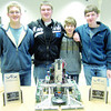 The Zionsville Community High School Robotics Club was host to 76 teams from 24 schools Saturday, March 2, at the Vex Robotics Indiana State Championship. Steel Eagle 2 team was ranked second at the tournament and took both the Excellence Award and the Design Award, qualifying them for the Vex Robotics World Championships in Anaheim, Calif. Pictured are Andrew Overhage, Sam Miles, Jordan Minnigan and Elliot Berman.