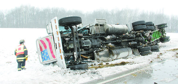The driver of this semi-truck sustained minor injuries in a Monday afternoon accident on U.S. 52 near CR 450 N.