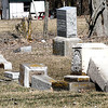 Reporter photo by Rod Rose<br /> These three tombstones in Thorntown's Old Cemetery were among about 100 vandalized by two children, who were caught in the act by a Thorntown Town Councilman.