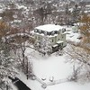 BEN GARVER — THE BERKSHIRE EAGLE<br /> The Elizabeth Freeman Center stands out on Jubilee Hill in Pittsfield after heavy snow.