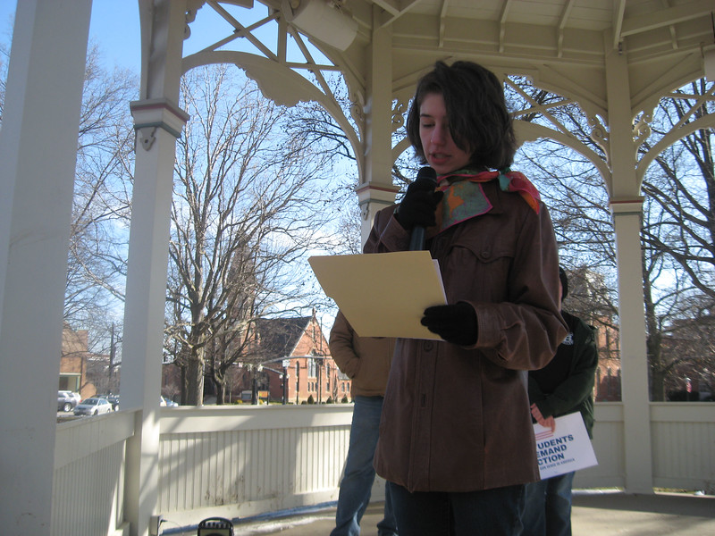 032418Medina MarchBS13 Dagny Sacksteder, a student at Highland High School, speaks at Saturday's March for Our Lives rally on Public Square in Medina.
