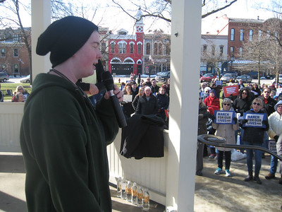 BOB SANDRICK / GAZETTE Ilsa Miller, a Brunswick High School student, addresses the crowd at Saturday's March for Our Lives rally on Public Square in Medina.