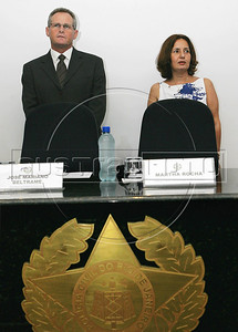 The new Civil Police chief Martha Rocha, right, and Jose Mariano Beltrame, left, Rio de Janeiro's Public Security Secretary during nomination of new police authorithies ceremony in Academy of police, Rio de Janeiro, Brazil, february 21, 2011. (Austral Foto/Stringer)