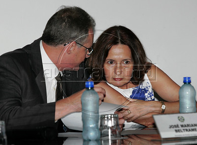 The new Civil Police chief Martha Rocha, right, talks with Jose Mariano Beltrame, Rio de Janeiro's Public Security Secretary during nomination of new police authorithies in Academy of police, Rio de Janeiro, Brazil, february 21, 2011. (Austral Foto/Stringer)
