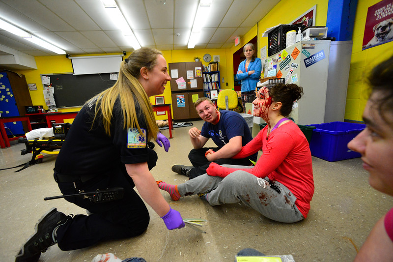 KRISTOPHER RADDER - BRATTLEBORO REFORMER<br /> A small group of students at Leland & Gray Union Middle and High School volunteer to simulate as victims in a school bus crash mass casualty drill on Wednesday, May 16, 2018.
