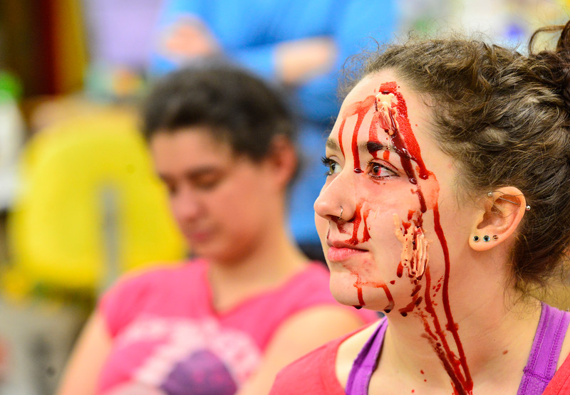 KRISTOPHER RADDER - BRATTLEBORO REFORMER<br /> Sage Hall, a senior at Leland & Gray Union Middle and High School, listens as student roles are explained during a school bus crash mass casualty drill on Wednesday, May 16, 2018.
