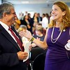 BEN GARVER — THE BERKSHIRE EAGLE<br /> Rep. John Barrett and Secretary of Labor and Workforce Development Rosalin Acosta, share a moment during the launch of MassHire, the commonwealth's united workforce brand, formerly known as BerkshireWorks.