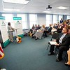 BEN GARVER — THE BERKSHIRE EAGLE<br /> Pittsfield Mayor Linda Tyer speaks at the introduction of the new MassHire brand in the former BerkshireWorks location.