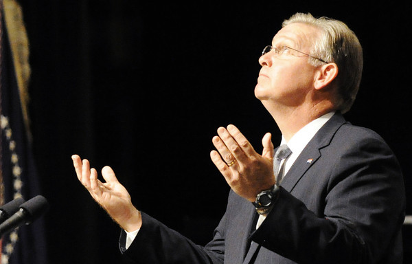 Globe/T. Rob Brown<br /> Missouri Gov. Jay Nixon speaks Sunday afternoon, May 29, 2011, at Missouri Southern State University's Taylor Performing Arts Center.