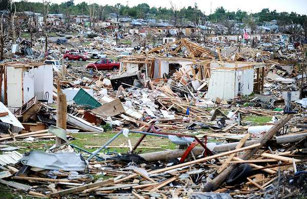 Globe/T. Rob Brown<br /> A view of the tornado's path, near Joplin High School, Friday morning, May 27, 2011.