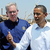 Globe/T. Rob Brown<br /> President Barack Obama speaks with Missouri Gov. Jay Nixon and others Sunday afternoon, May 29, 2011, near Joplin High School.