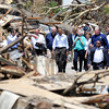 Globe/T. Rob Brown<br /> President Barack Obama and entourage tour the devastation from last Sunday's tornado, Sunday afternoon, May 29, 2011, near Joplin High School.