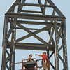Globe/T. Rob Brown<br /> Kevin George, left, and Larry Ellis, both glaziers with Commercial Glass & Metal of Joplin, take measurements Wednesday, May 9, 2012, to replace glass in the steeple at St. Paul's United Methodist Church in Joplin.