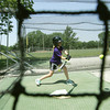 Globe/Roger Nomer<br /> Aubri Piccini, 11, Pittsburg, takes a swing at the batting cages in Lincoln Park on Monday afternoon.