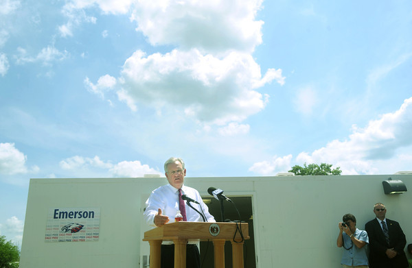 Globe/Roger Nomer<br /> Gov. Jay Nixon announces funding to help construct safe rooms at Joplin schools during a stop at Emerson Elementary's storm shelters on Monday.