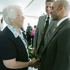Globe/Roger Nomer<br /> Sister of Mercy Annrene Brau is introduced to UAE Ambassador Yousef Al Otaiba by Mercy Hospital Joplin President Gary Pulsipher on Friday.