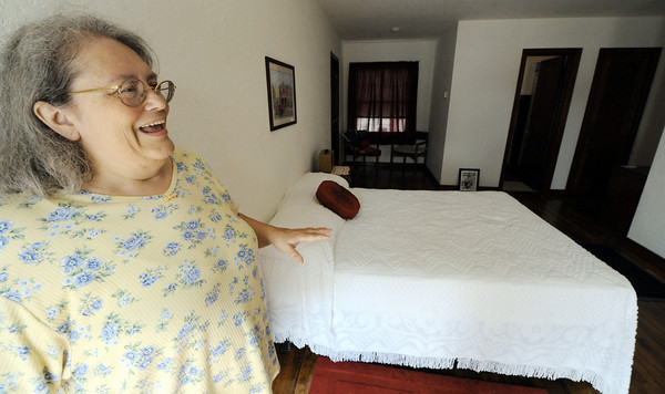 Globe/T. Rob Brown<br /> Deborah Harvey, co-owner of the Boots Motel in Carthage, shows her enthusiasm as she talks about the simplistic 1940s-style rooms her staff have been renovating at the Route 66 landmark.