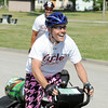 Globe/T. Rob Brown<br /> Todd Greene, Joplin Expats president and co-founder, and his cycling partner, Dave duCille, met up with supporters on Friday afternoon in King Jack Park in Webb City after more than 1,500 miles in 20 days to help raise money to provide storm shelters for Joplin families. They continued on their way into Joplin after a brief stop.