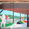 Globe/Roger Nomer<br /> Alana Rose, LaCygne, Kan., and Kyle McKenzie work on a mural depicting the Webb City Farmers Market at Broadway and Main in Webb City on Wednesday.