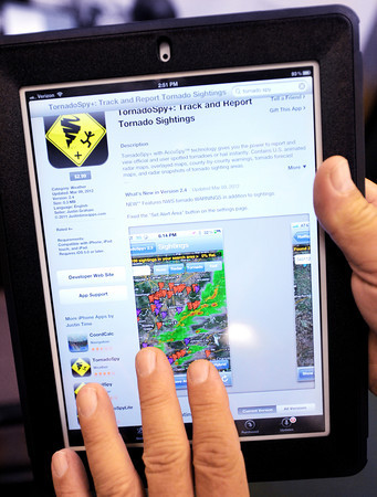 Globe Photo Illustration/T. Rob Brown<br /> There is a newer app called TornadoSpyLite for the iPad series of tablets that users can use to look at current weather maps to find tornado sightings.