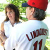 Globe/T. Rob Brown<br /> Mark Lindquist and his wife, Carolyn, spend time at Southwest City Park on the Honey Creek branch of Elk River Tuesday morning, May 22, 2012. Lindquist wears his St. Louis Cardinals World Series jersey.