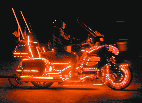Thousands of lights illuminate one of the Honda Gold Wing motorcycles that drove through Lebanon during a parade of lights Saturday.