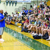 Former Indianapolis Colts linebacker Gary Brackett speaks to Zionsville Community High School economics students Thursday afternoon, May 16. Bob Brennan's economics classes raised the most money at ZCHS during the Leukemia & Lymphoma Society's Pennies for Patients campaign. Brennan's class raised nearly $1,000. ZCHS raised the most money out of all the schools in the state by raising more than $10,000.