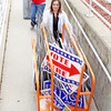 Rod Rose The Lebanon Reporter<br /> ELECTION CLEANUP: Boone County deputy clerks Andrea McClaine (at top) and Crystal Schuetz wheel election center signs into storage at the Boone County Courthouse Wednesday afternoon, following Tuesday's record-setting primary election.