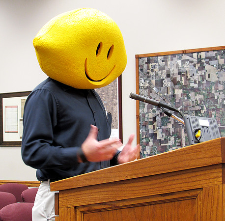 Rod Rose The Lebanon Reporter<br /> LEMONADE DAY PROMOTION: Ben Worrell, business development manager at the Boone County Economic Development Corp., promotes Lemonade Day, a initiative that teaches children about starting, owning and operting their own business. Photos of local officials who donned the lemon head to promote the event, which will be May 21,  are being Tweeted and posted on the EDC's Facebook page, where more information about the project can be found.