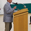 ELODIE REED - FOR THE BERKSHIRE EAGLE Northern Berkshire Vocational Regional School District School Committee chairman Gary Rivers gives his remarks during the McCann Technical School postsecondary graduation ceremony Thursday.