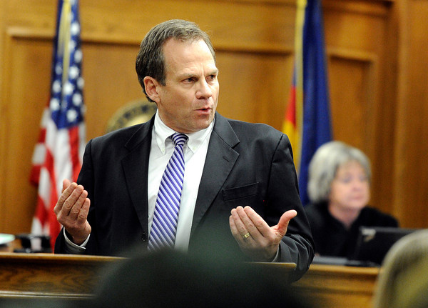 """Kevin McGregor Trial002.JPG Prosecuter Stan Garnett explains a facebook posting to the jury that Kevin McGregor made the night of the murder on Thursday, Jan. 26, during the murder trial of Kevin McGregor at the Boulder County Justice Center in Boulder. For more photos of the trial go to  <a href=""""http://www.dailycamera.com"""">http://www.dailycamera.com</a><br />  Jeremy Papasso/ Camera"""