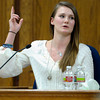 0126KEVIN1.jpg Elizabeth Roach raises her hand to mimic how the gunman held his pistol and fired it in to the air during Kevin McGregor's trial at the Boulder County Justice Center in Boulder, Colorado January 26, 2012.  McGregor is charged with the murder of Todd Walker in March of 2011. CAMERA/MARK LEFFINGWELL