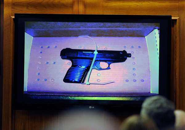 "Kevin McGregor Trial004.JPG The .380 caliber semi-automatic handgun found in the ceiling of Which Which sandwich shop as an evidence exhibit on Thursday, Jan. 26, during the murder trial of Kevin McGregor at the Boulder County Justice Center in Boulder. For more photos of the trial go to  <a href=""http://www.dailycamera.com"">http://www.dailycamera.com</a><br />  Jeremy Papasso/ Camera"