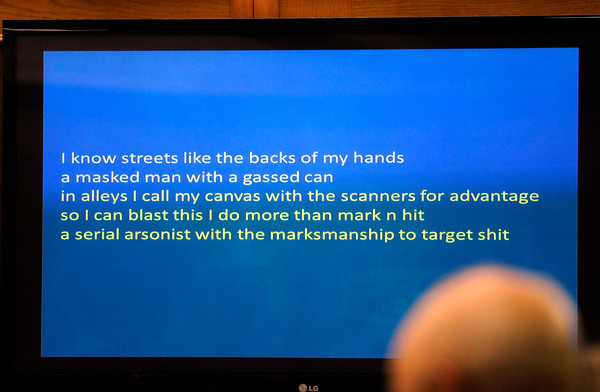 "Rap lyrics that were found on the cell phone of Kevin McGregor by Boulder Police Detective Scott Sloan on Tuesday, Jan. 31, during Kevin McGregor's trial for the murder of Todd Walker at the Boulder County Justice Center in Boulder. For more photos of the trial go to  <a href=""http://www.dailycamera.com"">http://www.dailycamera.com</a> Jeremy Papasso/ Camera"