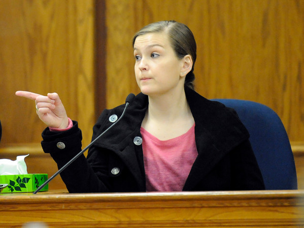 """Kelly Knight points to Kevin McGregor when asked who she saw enter the Which Wich store in the early morning hours the night of the shooting on Tuesday, Jan. 31, during Kevin McGregor's trial for the murder of Todd Walker at the Boulder County Justice Center in Boulder. For more photos of the trial go to  <a href=""""http://www.dailycamera.com"""">http://www.dailycamera.com</a> Jeremy Papasso/ Camera"""
