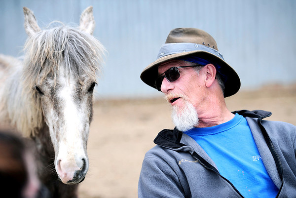 "Vietnam veteran Deni Darby says ""hello"" to Fearless, a rescued mustang colt, at the beginning of the Veteran's group meeting  Medicine Horse Program in Boulder, Colorado May 16, 2011.  Medicine Horse Program partnered with the Veterans Peace of Mind Project to create Fearless Victory, a program that mixes Veterans suffering from Post Traumatic Stress Disorder (PTSD) with wild horses in a mindful meditation program. CAMERA/Mark Leffingwell"