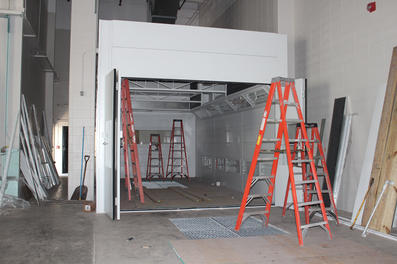 HALEE HEIRONIMUS / GAZETTE The first Garmat paint booth is in place in the auto collision technology laboratory. The booth will double in size and extend out on the concrete ramp.