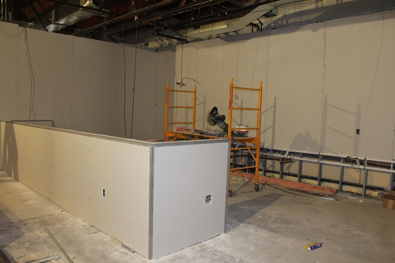 """HALEE HEIRONIMUS / GAZETTE The designated wash station and hair dryer area in the cosmetology laboratory. The hair dryers will be placed on the inside of the """"half wall."""""""