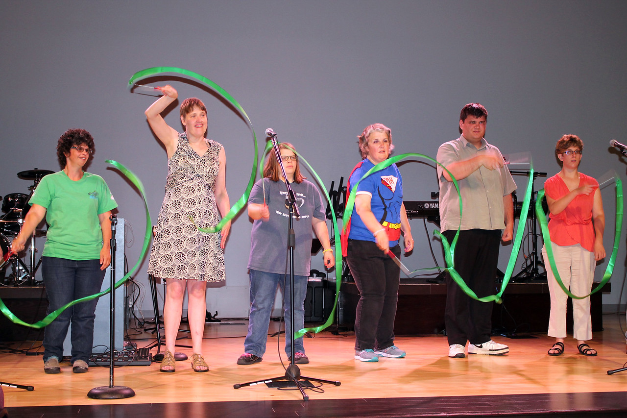 "LAWRENCE PANTAGES / GAZETTE The Medina Creative Housing Comedy Crew team puts on a skit to the 1967 song ""What A Wonderful World"" as part of a 25th birthday celebration for the nonprofit agency that has 18 programs offering services, living arrangements and occupational opportunities.  All the performers in the skit were clients of the agency. The event attended by more than 75 people was held at Heartland Community Church, 3400 Weymouth Road, Medina Township."